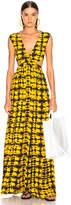 Proenza Schouler Tie Dye Maxi Dress in Yellow & Black | FWRD