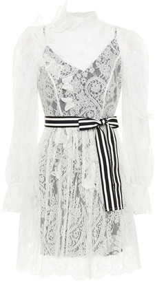 Zimmermann Belted Appliqued Corded Lace Mini Dress