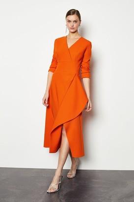 Karen Millen Long Sleeve Waterfall Tailored Dress