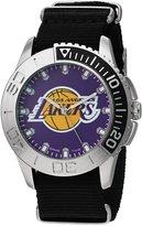 Game Time Men's 'Starter' Quartz Metal and Nylon Automatic Watch, Color:Black (Model: NBA-STA-LAL)