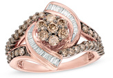 Zales 1 CT. T.W. Composite Champagne and White Diamond Whirlwind Split Shank Ring in 10K Rose Gold
