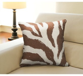 Bungalow Rose Frey Zebra Screen Print Linen Throw Pillow Color: Brown