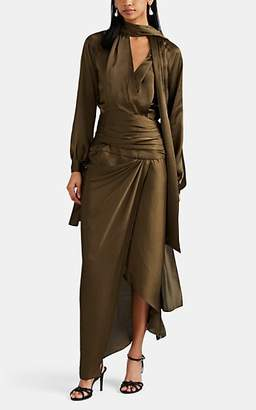 Juan Carlos Obando Women's Washed Satin Wrap Dress - Olive