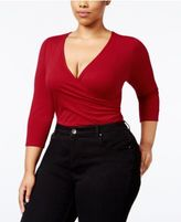 NY Collection Plus Size Surplice Bodysuit
