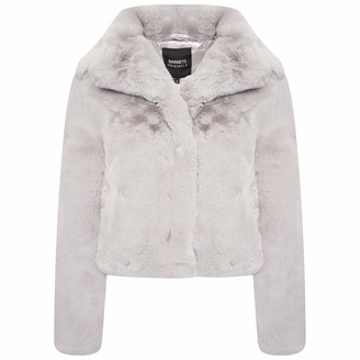 Barneys Originals Womens Soft Grey Faux Fur Jacket (6)