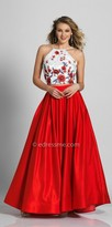 Dave and Johnny Floral Embroidered Two Piece Halter Evening Dress