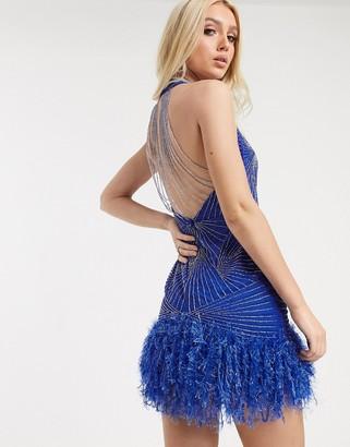Asos Design DESIGN embellished faux feather hem mini dress with strappy back