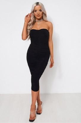 The Fashion Bible Lois Black Ruched Strapless Bodycon Dress