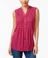 Charter Club Petite Pleated Printed Top, Only at Macy's