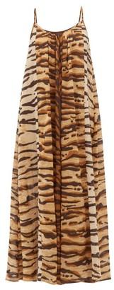 Mes Demoiselles Fetiche Tiger-print Cotton Maxi Dress - Brown Print