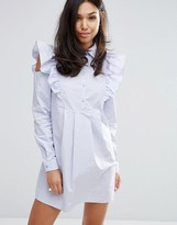 Fashion Union Shirt Dress With Sleeve Detail