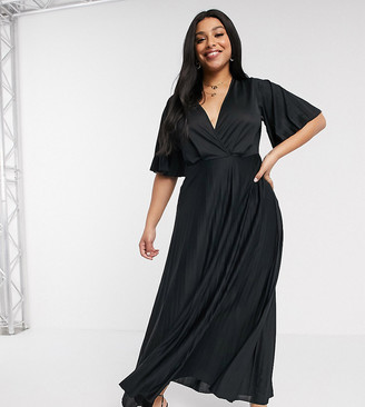 Asos DESIGN Curve kimono pleated maxi dress-Black