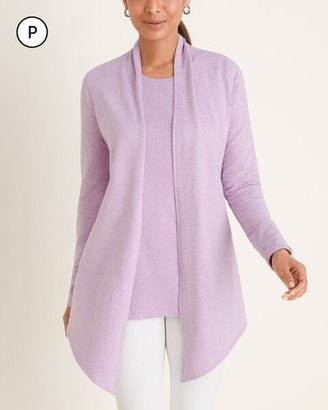 Zenergy Petite Draped Ribbed Cardigan
