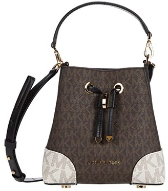 MICHAEL Michael Kors Mercer Gallery Extra Small Convertible Bucket Crossbody (Brown Multi) Cross Body Handbags