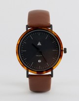 Asos Watch With Tort Acetate Case And Brown Strap