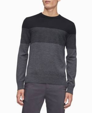 Calvin Klein Merino Colorblock Crew Neck Stripe Sweater