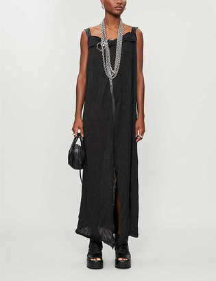 10seiotto Straight-neck silk-blend knitted midi dress