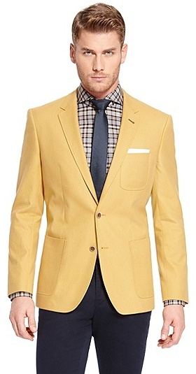 HUGO BOSS Havison Slim Fit, Cotton-Cashmere Sport Coat - Medium Yellow