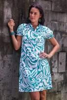 Silk Screened Cotton Dress, 'Balinese Paradise'