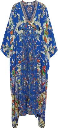 Camilla Playing Koi Crystal-embellished Printed Georgette-paneled Washed-silk Maxi Dress
