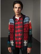 Burberry Fair Isle Wool Cashmere Cotton Bomber Jacket , Size: XXL