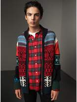 Burberry Fair Isle Wool Cashmere Cotton Bomber Jacket