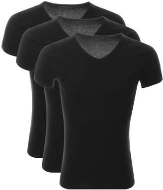 Tommy Hilfiger Lounge 3 Pack V Neck T Shirts Black