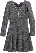 Sweet Heart Rose Knit Skater Dress & Necklace Set, Little Girls (2-6X)