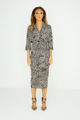 Studio Mouthy Midi Pencil Skirt In Leopard