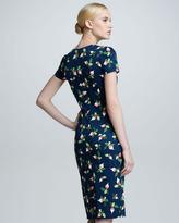 Carolina Herrera Radish-Print Short-Sleeve Sheath Dress, Navy