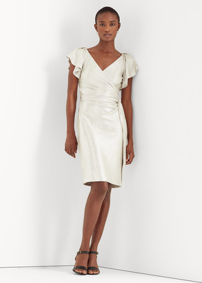 Ralph Lauren Metallic Surplice Dress