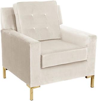 One Kings Lane Winston T Leg Club Chair - Cream Velvet