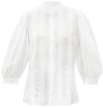 See by Chloe Balloon-sleeve Pintucked Cotton-gauze Blouse - White