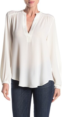Lush Split Neck Long Sleeve Blouse