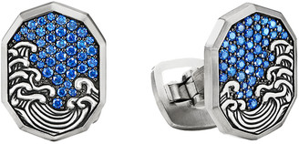 David Yurman Men's Waves Sapphire Pave Shield Cufflinks