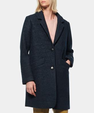 Andrew Marc Women's Car Coats [DTE]DK - Dark Teal Notch-Lapel Paige Boucle Wool-Blend Coat - Women