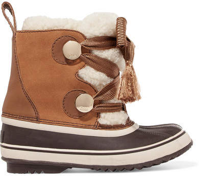 Chloé Sorel Crosta Leather-trimmed Suede And Shearling Boots - Brown
