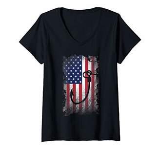 Womens Fish Hook T Shirt American Flag USA Patriotic Gift V-Neck T-Shirt