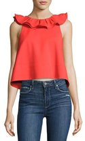 Tibi Agathe Sleeveless Ruffle Crop Top, Red