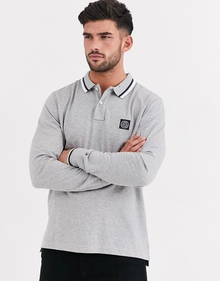 Tommy Hilfiger texture badge long sleeve polo shirt-Grey