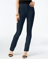 INC International Concepts Faux-Leather-Trim Curvy-Fit Pants, Created for Macy's