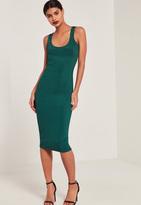 Missguided Green Ribbed Longline Midi Dress