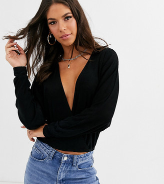 Asos Tall DESIGN Tall exclusive wrap top in slinky fabric with batwing sleeve in black