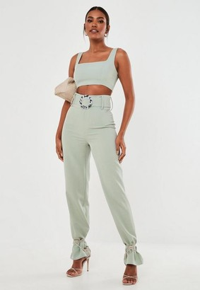 Missguided Co Ord Belt Detail Straight Leg Trousers