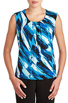 Allison Daley Petite Pleated Brush-Print Top