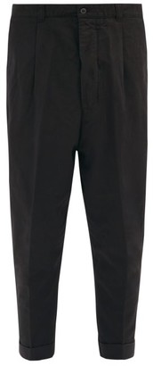 Ami Cropped Cotton-twill Trousers - Black