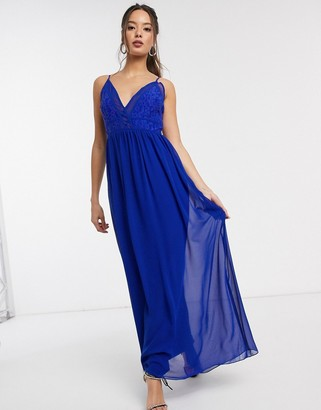 Little Mistress Sian maxi dress with lace bodice in cobalt