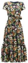 Borgo de Nor Elisa Floral-print Silk-twill Midi Dress - Womens - Navy Multi