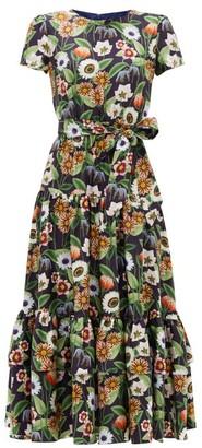 Borgo de Nor Elisa Floral-print Silk-twill Midi Dress - Navy Multi