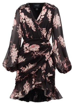 Giambattista Valli Floral-print Draped Silk-georgette Dress - Black Multi